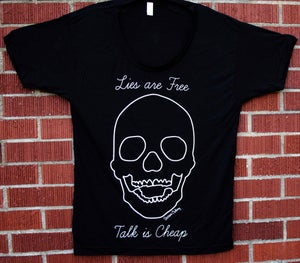"Image of Oversized ""Lies Are Free, Talk Is Cheap"" Shirt"