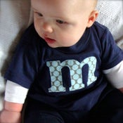 Image of Baby or Toddler Alphabet Shirt - Navy with blue dots