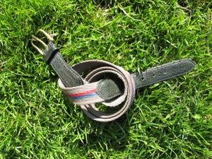 """Image of Cotton & Leather belt - 32"""" to 34"""" - Green w Blue & Red"""