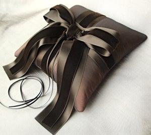 Image of Chocolate Brown Silk Taffeta and Velvet Ring Bearer Pillow