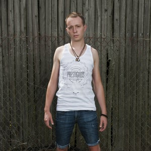 Image of Men's badge tank heather gray/white stripe - 100% cotton American Apparel tank