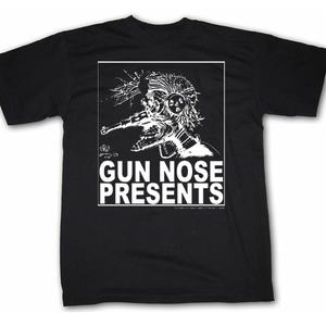 Image of Gun Nose Presents; White on Black Shirt