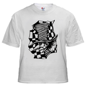 Image of Mad Hatter: Black on White Shirt