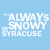 "Image of ""It's always snowy in Syracuse"" (Light Blue Shirt)"