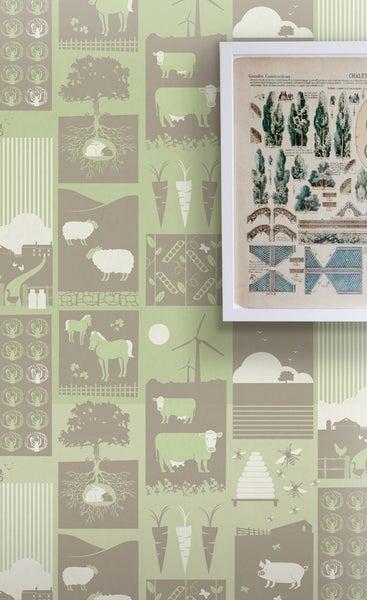 Image of Moo! Wallpaper - Pear Green