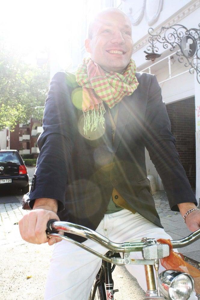 Image of silk scarf sun green