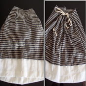 Image of Black Checkered Tie At Back Skirt