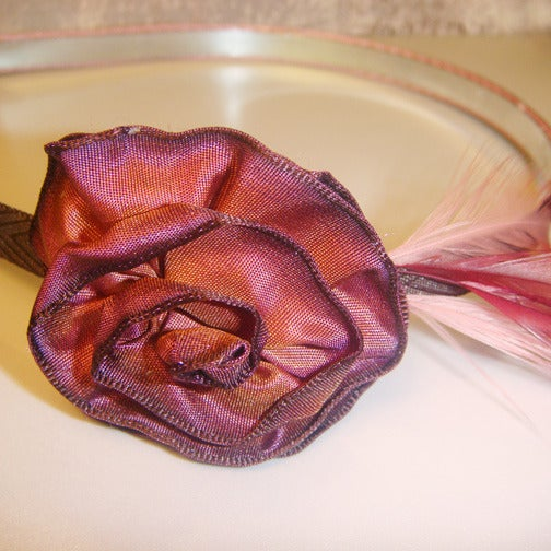 Image of Feathered Brandy Rosette Headband