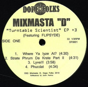 """Image of MIXMASTA D """"TURNTABLE SCIENTIST"""" 12""""          ***** SOLD OUT"""