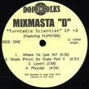 "Image of MIXMASTA D ""TURNTABLE SCIENTIST"" 12""          ***** SOLD OUT"
