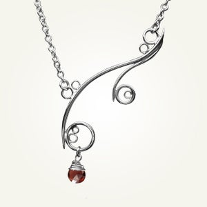 Image of Greek Isle Necklace with Garnet, Sterling Silver