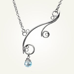 Image of Greek Isle Necklace with Sky Blue Topaz, Sterling Silver