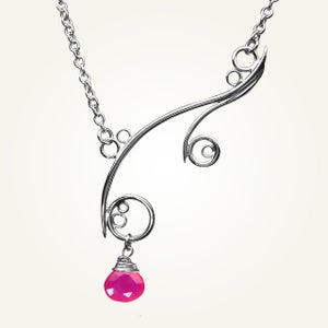 Image of Greek Isle Necklace with Pink Chalcedony, Sterling Silver