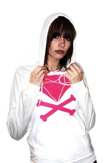 Image of Diamond & Crossbones Hoodie (White/Hot Pink)