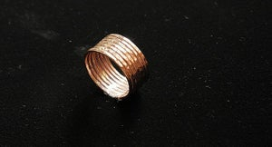 Image of LUCKY number 7: set of 14k rose gold filled hammered stackable rings, wedding bands, engagement ring