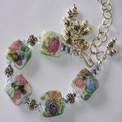 Image of Freshwater pearls & Lampwork in Sterling Silver Bracelet