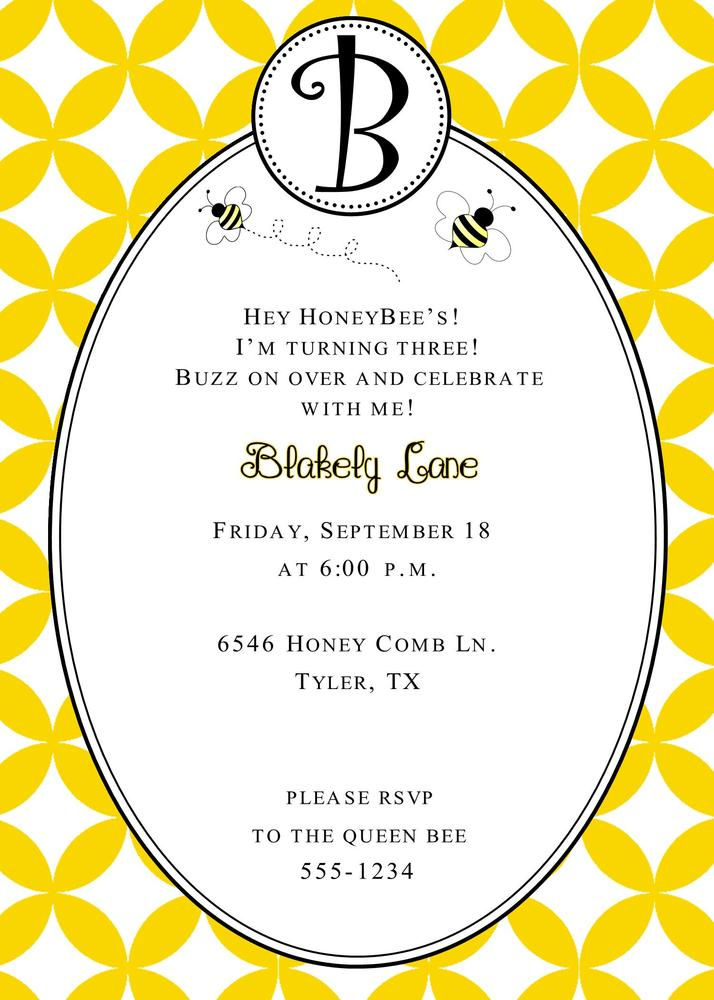dandi designs  u2014 bumble bee birthday invitation