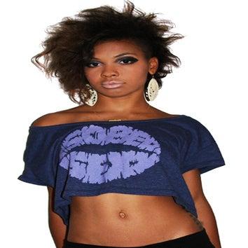 Image of Lips Logo Crop Top (Heather Violet)