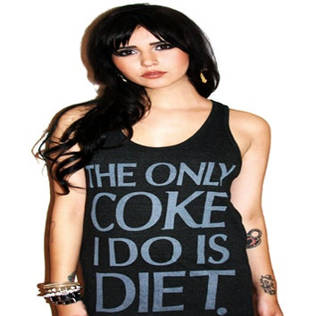 Image of The Only Coke I Do Is Diet Tank Top (Heather Black)
