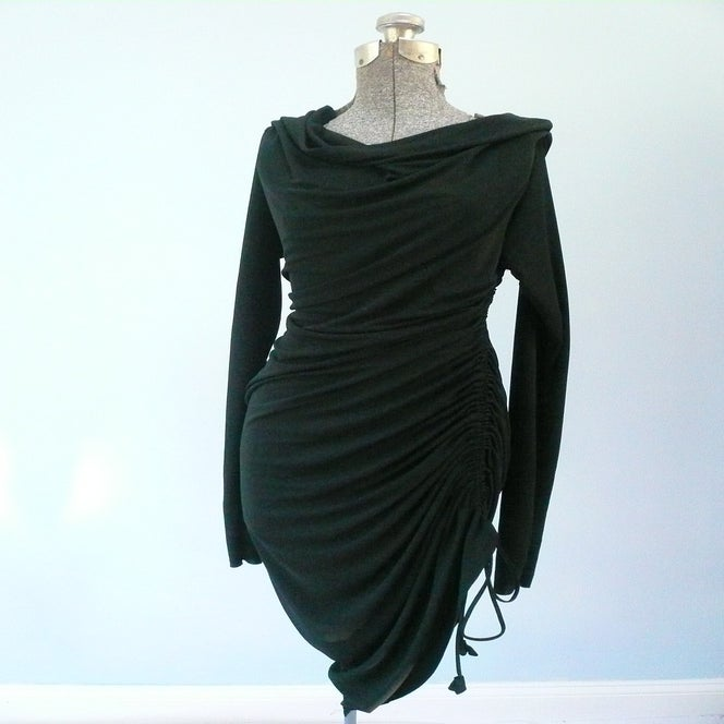 Image of Maria Severyna Black Jersey Long Sleeve Ruched Dress