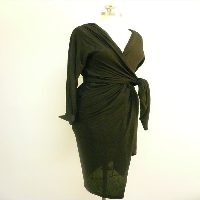 Image of MARIA SEVERYNA Hooded Long Sleeve Drape Wrap Dress