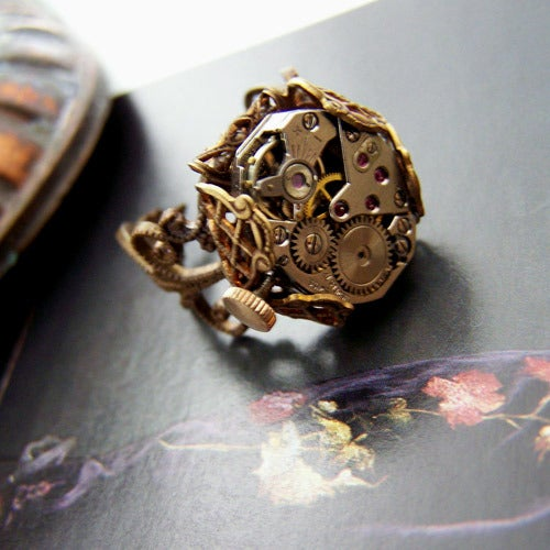 Image of Keeping Time Steampunk Ring- SALE $49