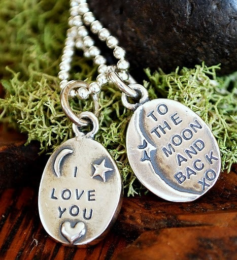 """Image of """"I love you to the Moon and back"""" Sterling 2 sided Pendant"""