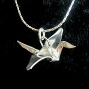 Image of Silver Origami Crane Pendant Necklace