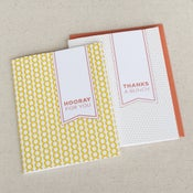 Image of hooray & thanks: 2-pk letterpress cards