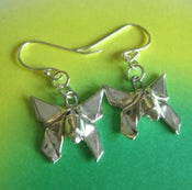 Image of Silver Origami Butterfly Earrings