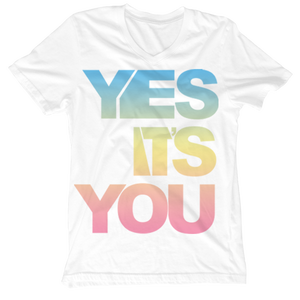 Image of Yes It's You Rainbow V-Neck Tees