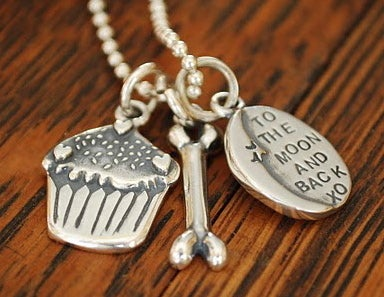 """Image of 3D Cupcake Sterling charm, that says """"You're my Cupcake"""" on the back!"""
