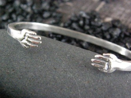 "Image of ""A True Friend should be held with Both Hands"" sterling cuff bracelet"