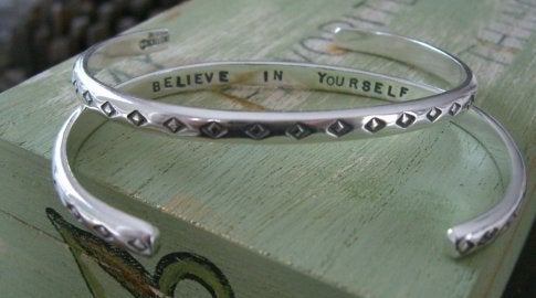 "Image of ""Believe in Yourself"" Sterling with Diamond Pattern"