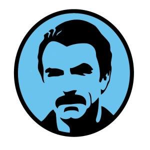 Image of American Mustache 4 Inch Aqua Stickers