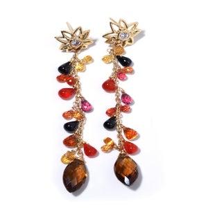 Image of 18k Diamond Flower Stone Drop Earrings