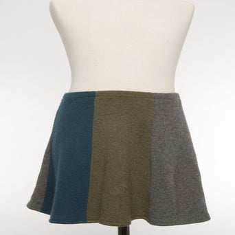 Image of Girls Cashmere Skirt - Green/Dark Grey/Turquoise