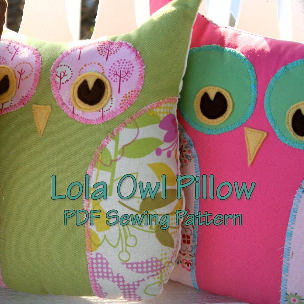 Lola The Owl Pillow PDF Pattern and bonus Lola Owl Bag Pattern / Gingercake