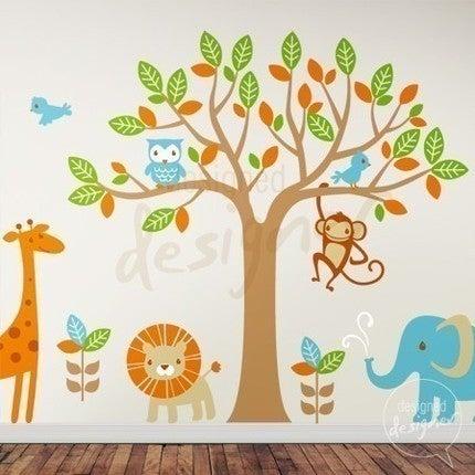Vinyl Wall Decal Safari Playland   Elephant, Giraffe, Owl, Monkey, Lion Part 67