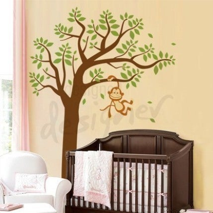 vinyl wall decal art monkey having fun swinging on tree extra large dd1021 removable wall. Black Bedroom Furniture Sets. Home Design Ideas