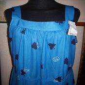 Image of Vintage Leaf-Detailed Blue Dress