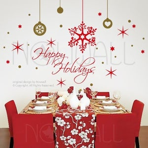 Image of Holiday Christmas Wall Decals Removable Art Holiday Season Wall Art