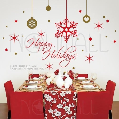 Holiday Christmas Wall Decals Removable Art Holiday Season Wall Art