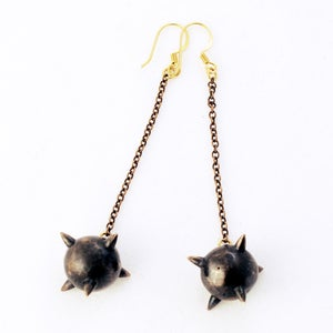 Image of Oxidized Long Mace Earrings