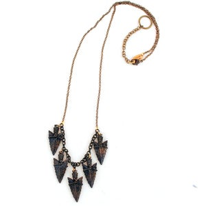 Image of Oxidized Spearhead Cluster Necklace