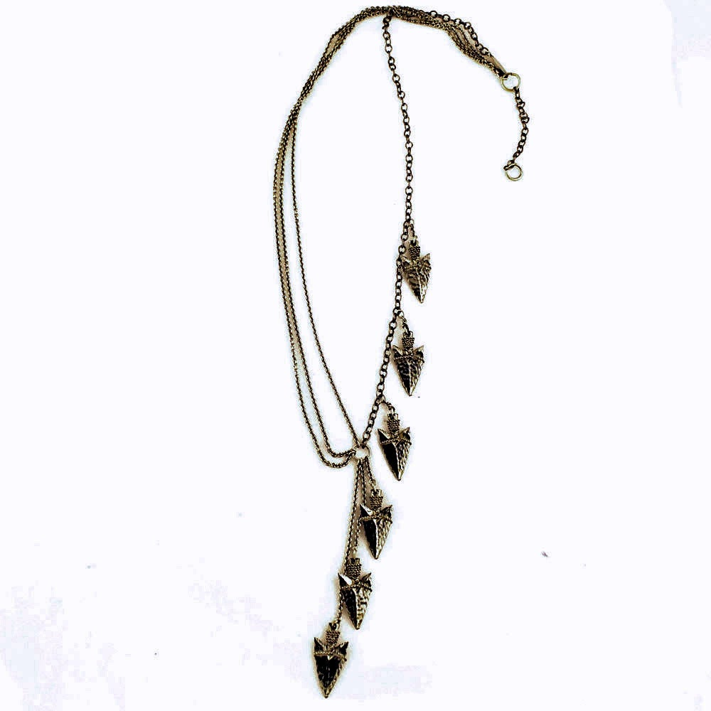Image of Oxidized Asymmetrical Spearhead Necklace