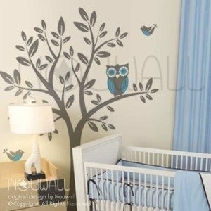 Image of A Giggle and a Hoot Owl Removable Vinyl Wall Decal Art - 090