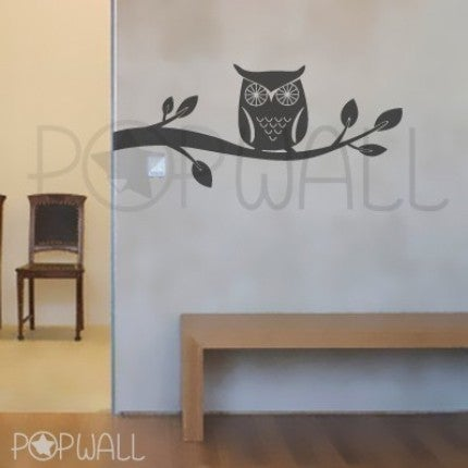 Image Of Wall Decal Giggle And Hoot Style  Owl On Branch Theme   047 Vinyl