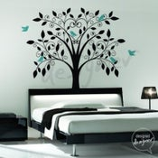 Image of Vinyl Wall Art Decal -Ornate Tree with Little Birds - dd1015