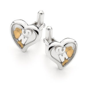 Image of Custom Letter, Heart Cufflink - Sterling Silver with 9ct Solid Gold Feet & Heart